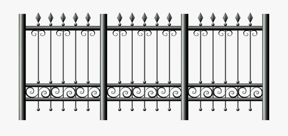 Iron fence transparent background. Gate clipart metallic