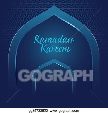 Vector illustration ramadan kareem. Mosque clipart gate