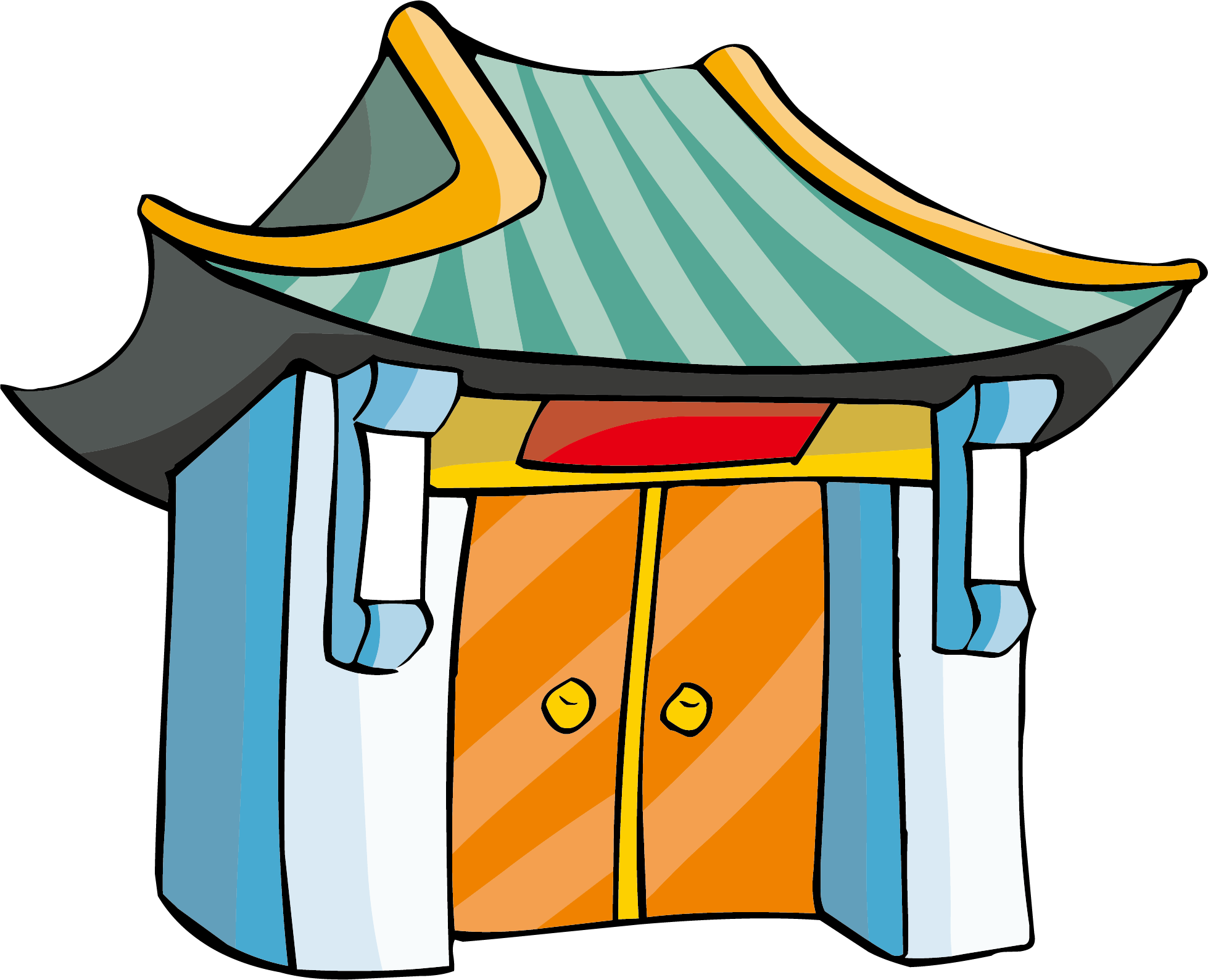 Gate clipart old gate. Chinese temple cartoon buddhist