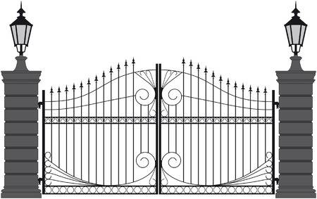 Gate clipart outline. Black and white portal