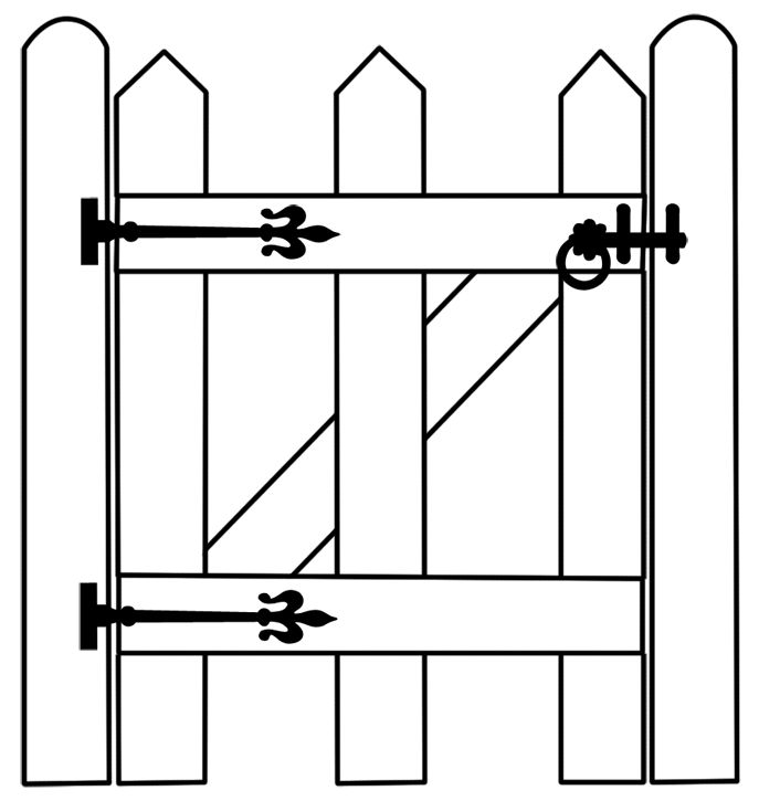 Gate clipart outline. Free black and white