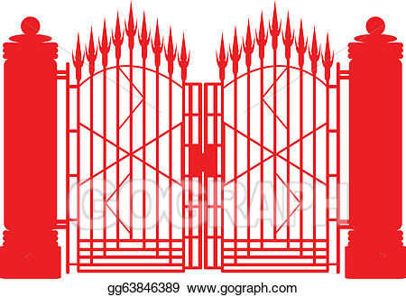 Gate clipart red metal. Eps vector iron stock