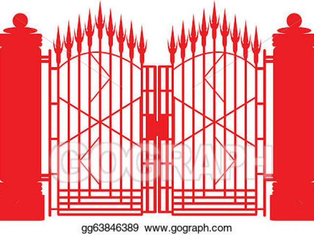 gate clipart red metal