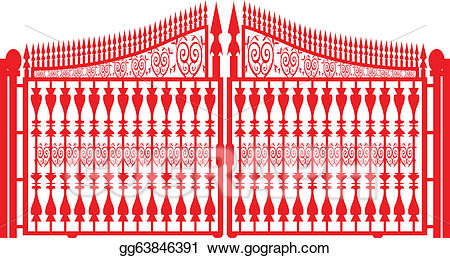 Eps vector iron stock. Gate clipart red metal