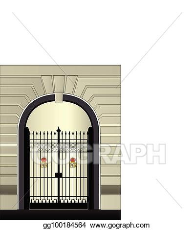 Vector stock palace clip. Gate clipart royal gate
