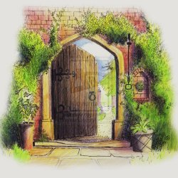 Gate clipart secret garden. Through the clip art