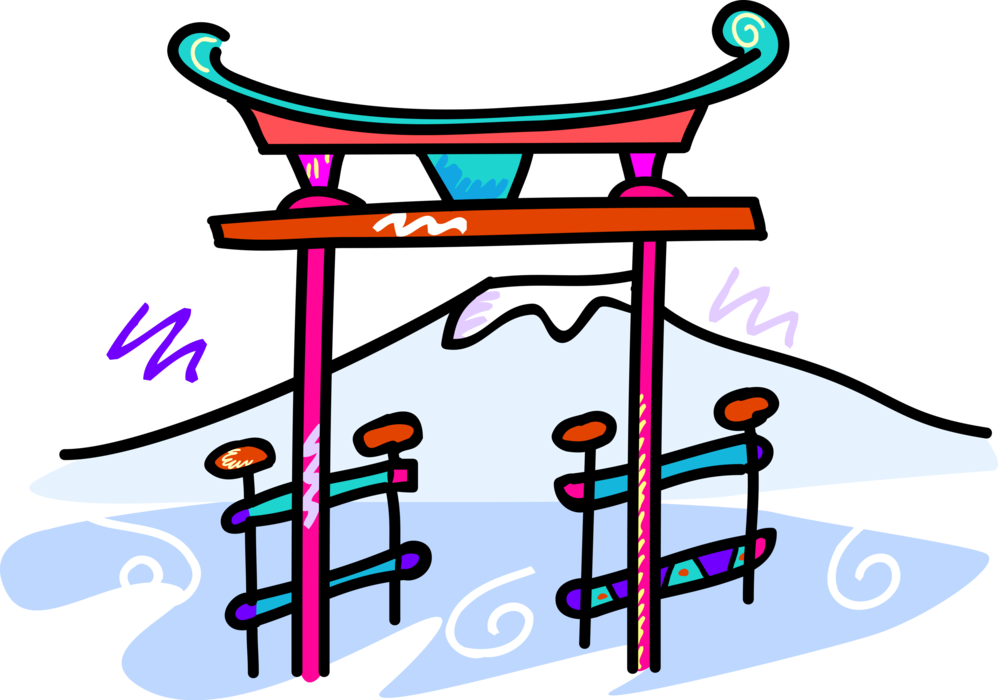 Gate clipart shinto. Japanese torii with mount