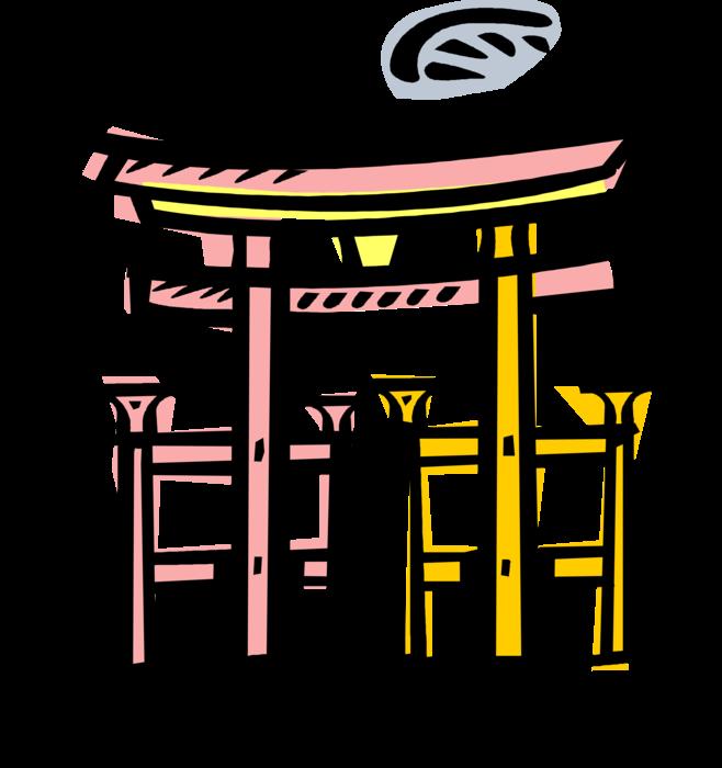 Gate clipart shinto. Japanese shrine torii vector