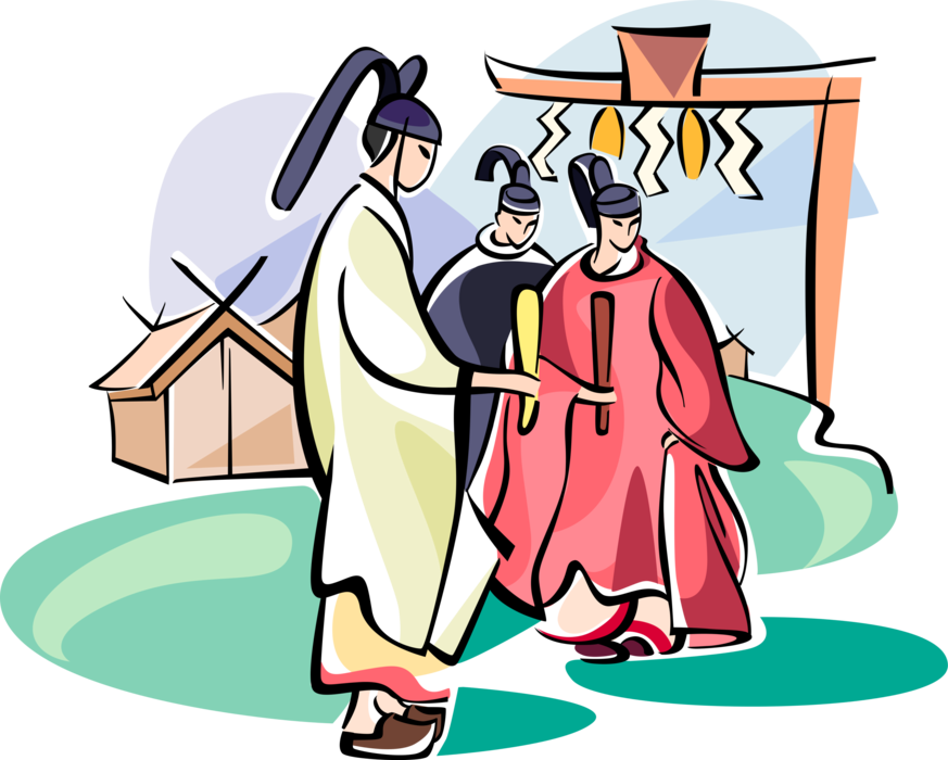 Gate clipart shinto. Japanese monks at torii