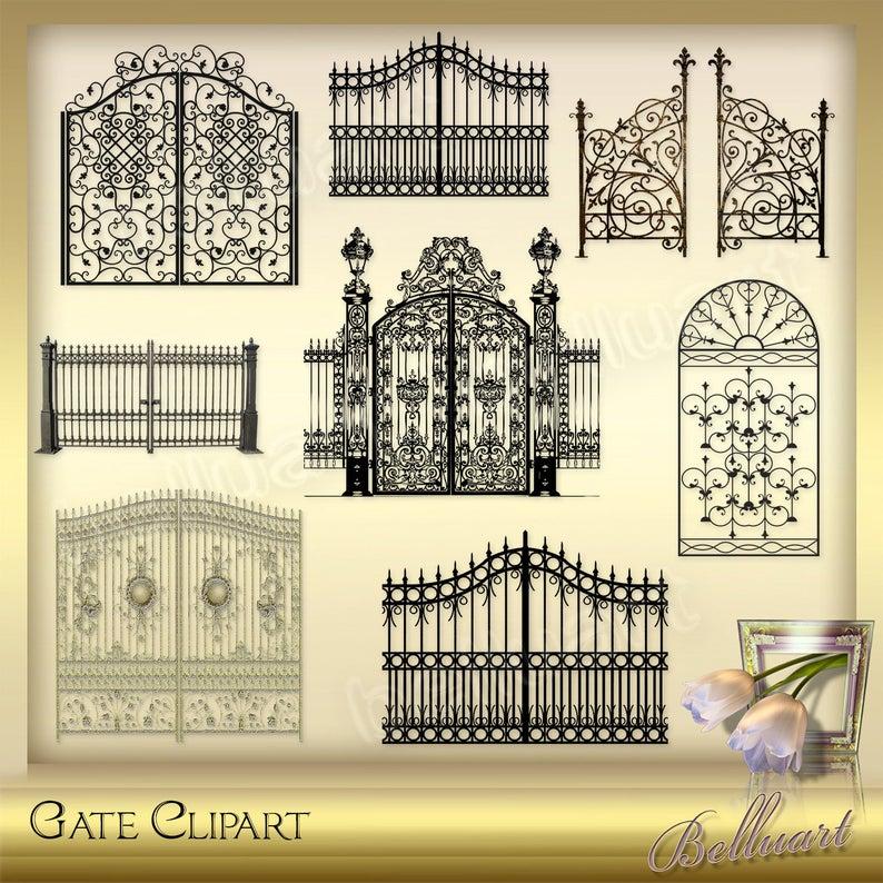 Gate clipart vintage.  antique instant download