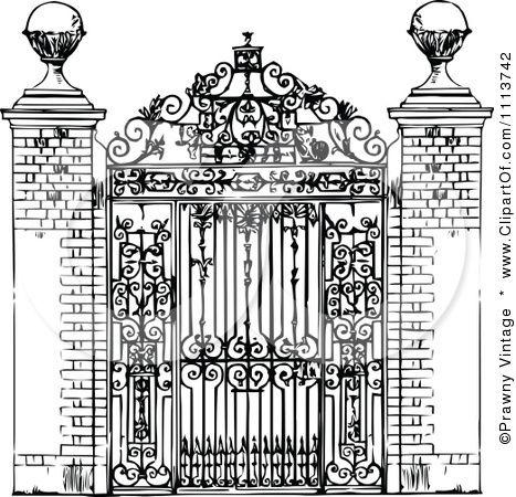 Black and white ornate. Gate clipart vintage