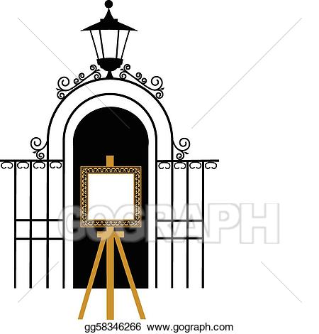 Vector to the park. Gate clipart vintage