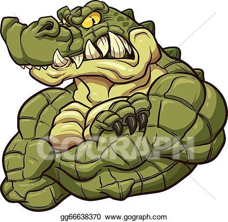 Vector alligator mascot illustration. Gator clipart angry