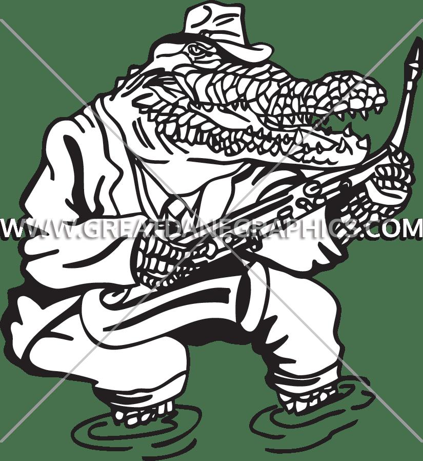 Gator production ready artwork. Jazz clipart line