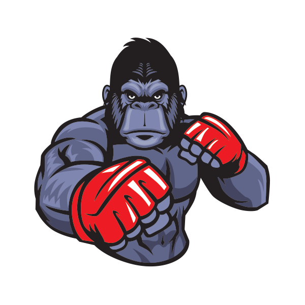 Gym clipart muscle arm. Printed vinyl gorilla fighter