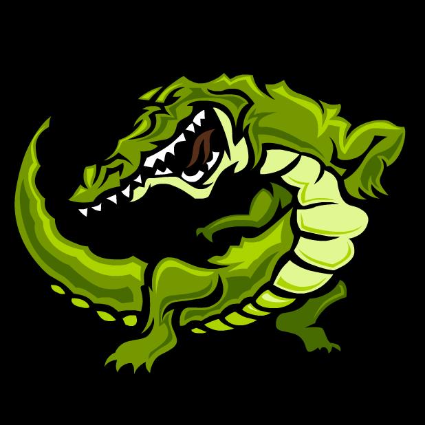 University stickers by cartoon. Crocodile clipart green object