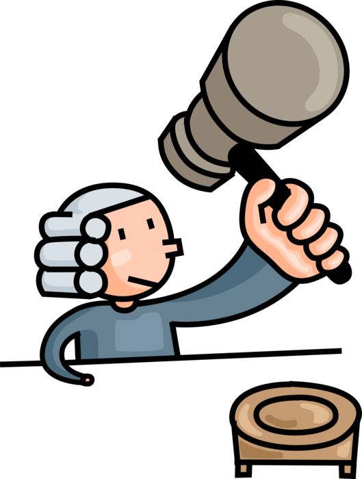 Judge hammers gavel in. Justice clipart law and order