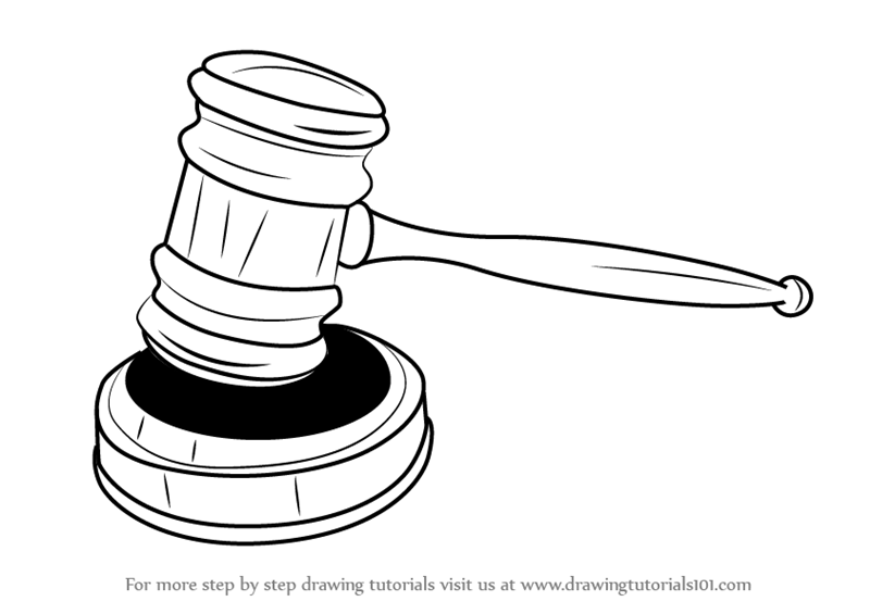 Learn how to draw. Gavel clipart drawn