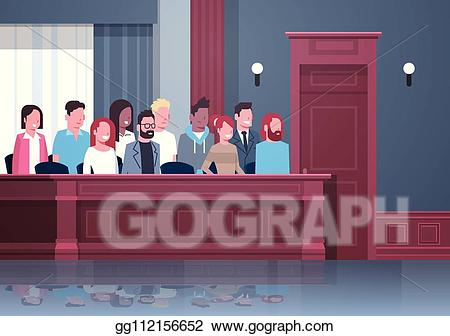 Vector art sitting in. Gavel clipart jury box