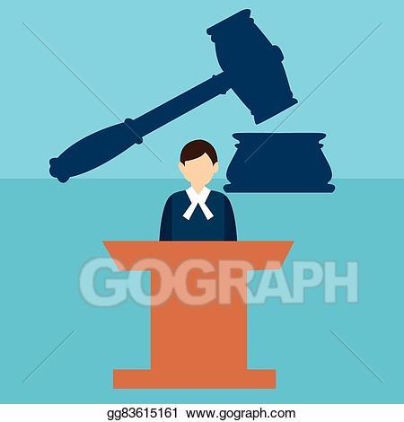 Vector art court judge. Justice clipart public trial