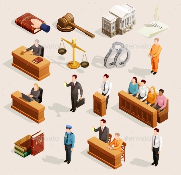 Law icon isometric set. Gavel clipart public trial