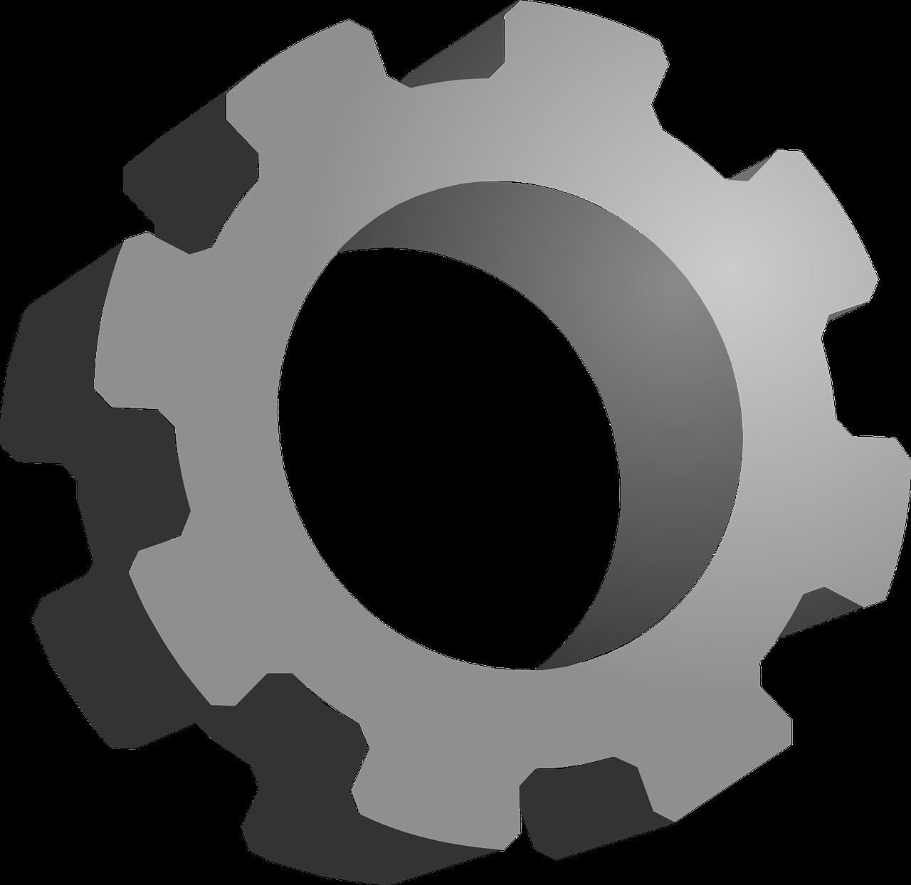 Gear icon mechanical option. Gears clipart grey