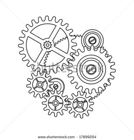 Clock blueprint outline by. Gears clipart gear shape