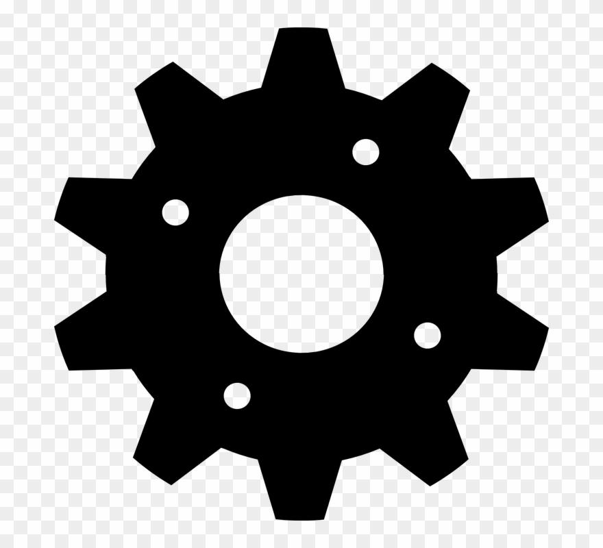 Gear clipart cogwheel. Black mechanical wheel