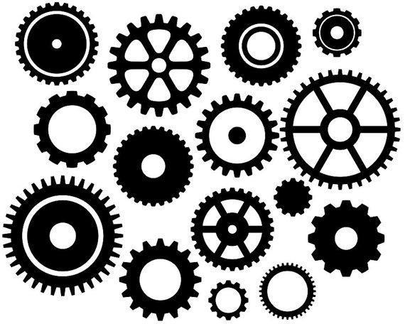 Gears clip art black. Steampunk clipart cogwheel
