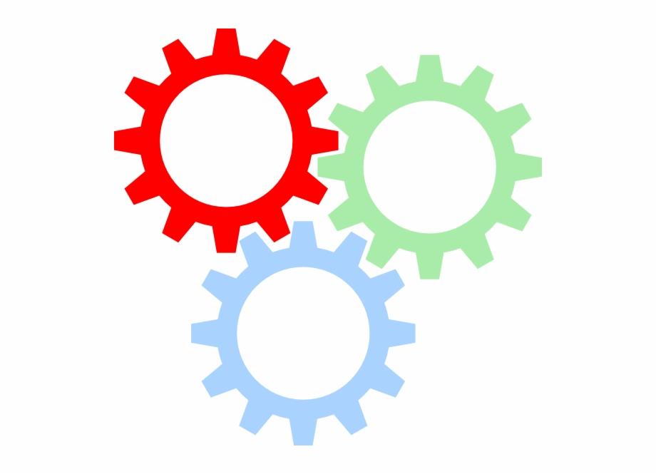 Tri color gears svg. Gear clipart colorful gear