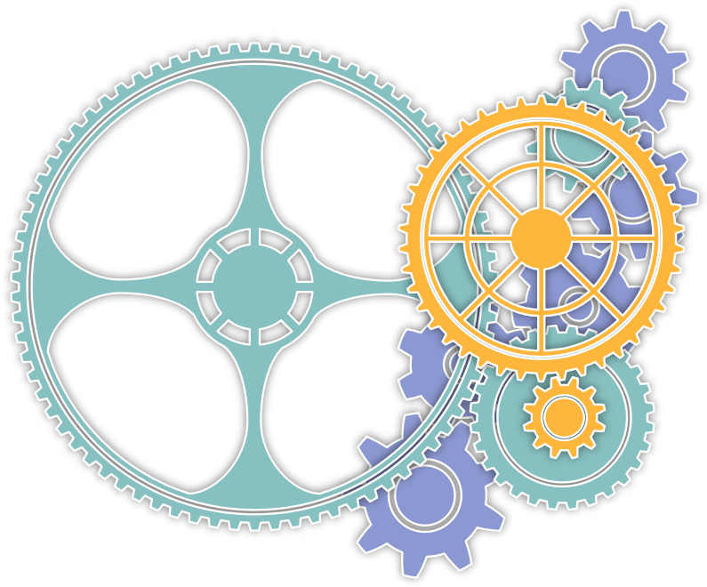 Gear clipart colorful gear. Colored gears medium image