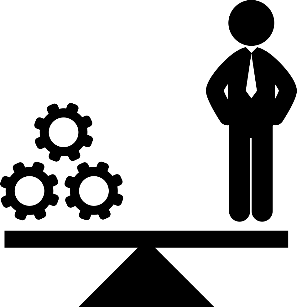 Business scale with a. Gear clipart engineering symbol