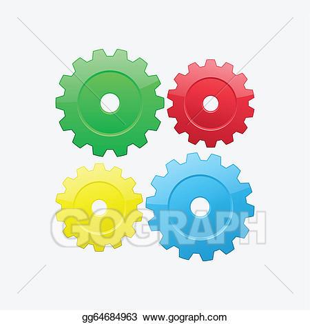 Gear clipart four. Vector gears illustration gg