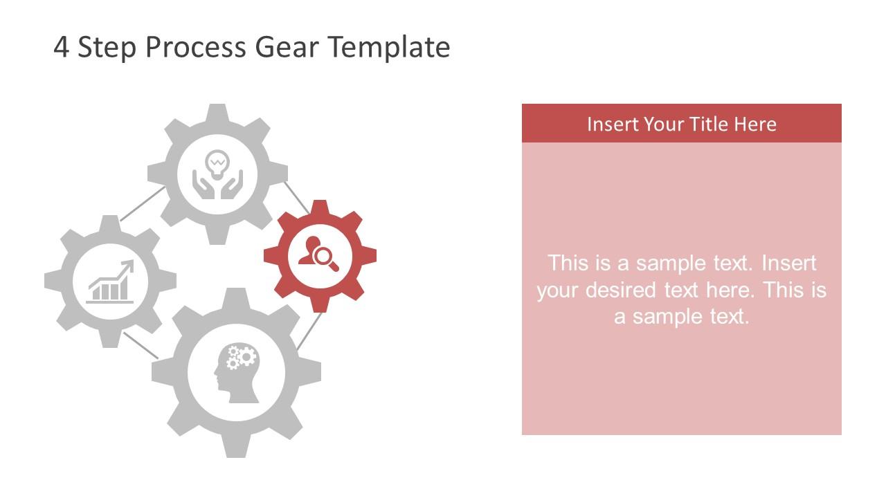 step process powerpoint. Gear clipart four