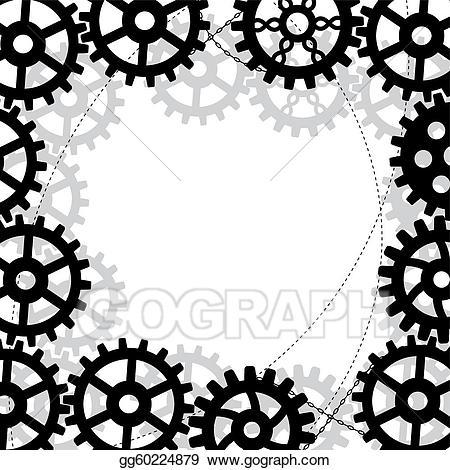 Gear clipart gear frame. Eps illustration gears vector