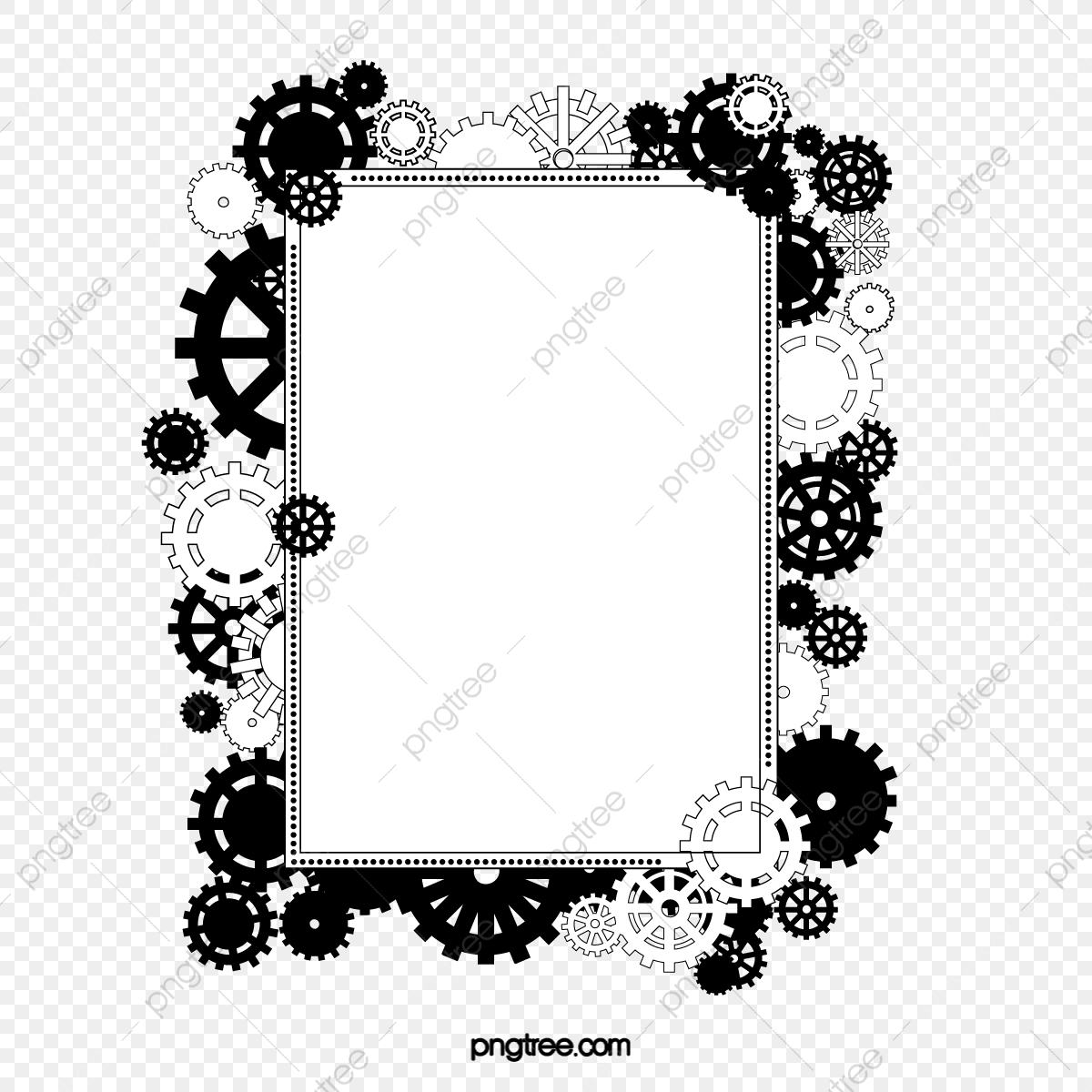 Black and white . Gear clipart gear frame