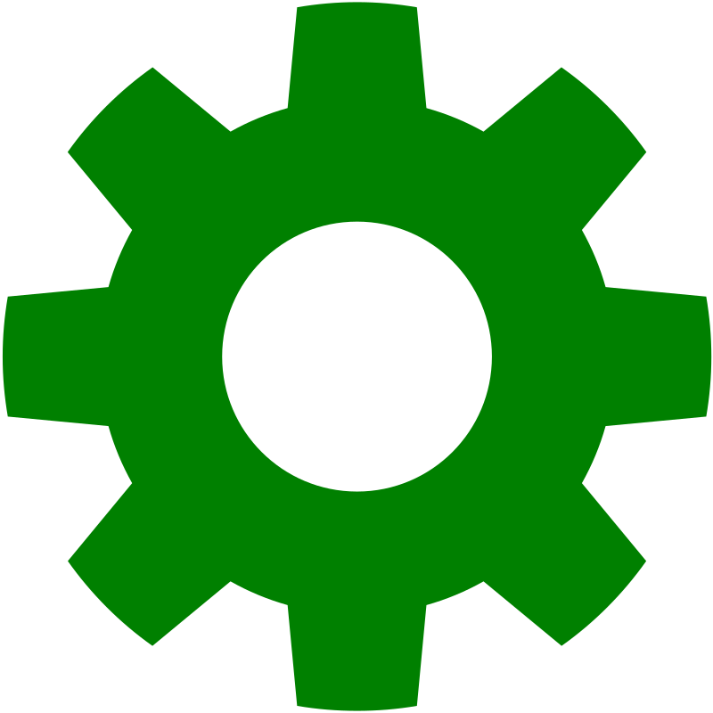 Gear in medium image. Gears clipart green