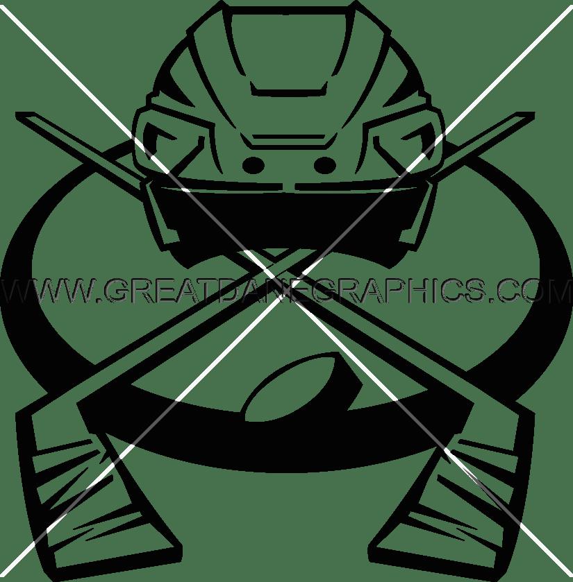 Helmet with sticks production. Hockey clipart vector