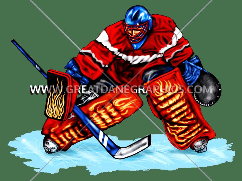 Block production ready artwork. Hockey clipart hockey goalie