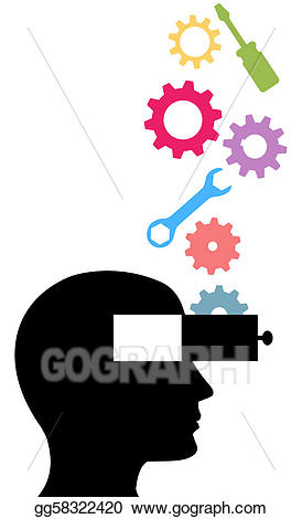 Vector illustration person think. Gear clipart invention