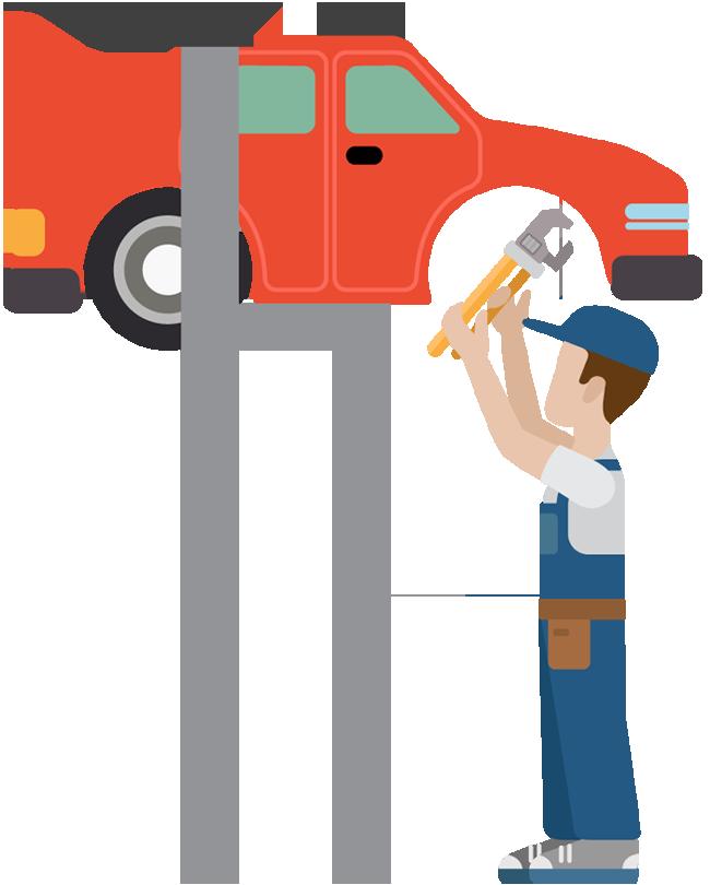 Car repair group auto. Mechanic clipart happy work