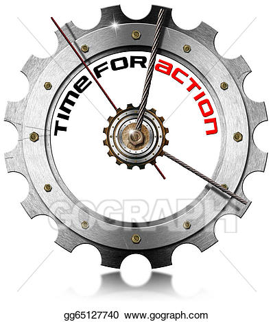 Drawing time for action. Gear clipart metallic