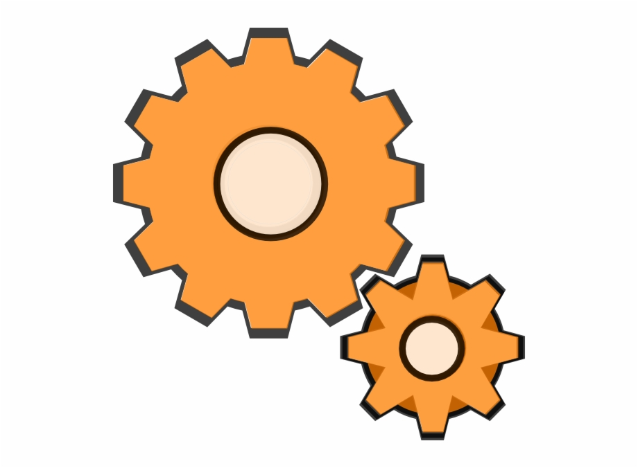 Small transparent free png. Gear clipart orange