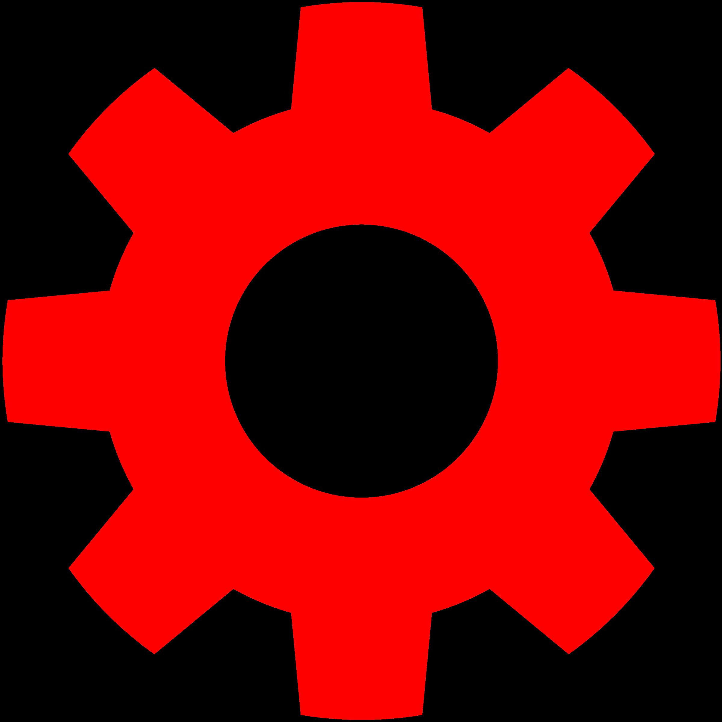 Gears clipart grey. Gear in red big