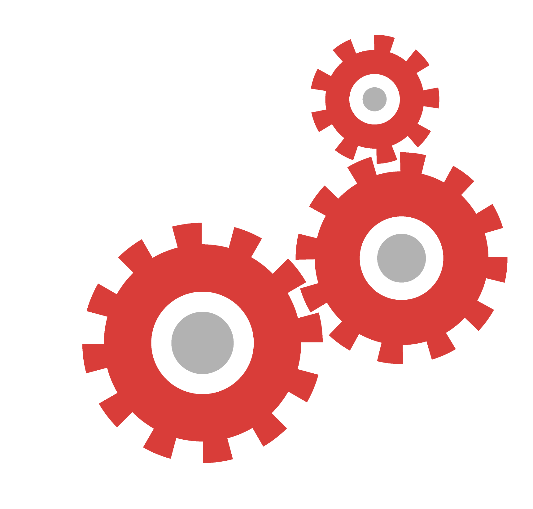 collection of gears. Gear clipart red