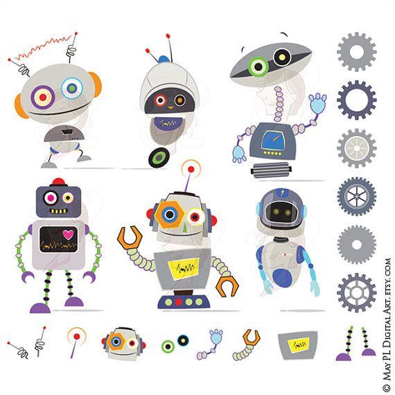 Instant download cute digital. Robot clipart grey