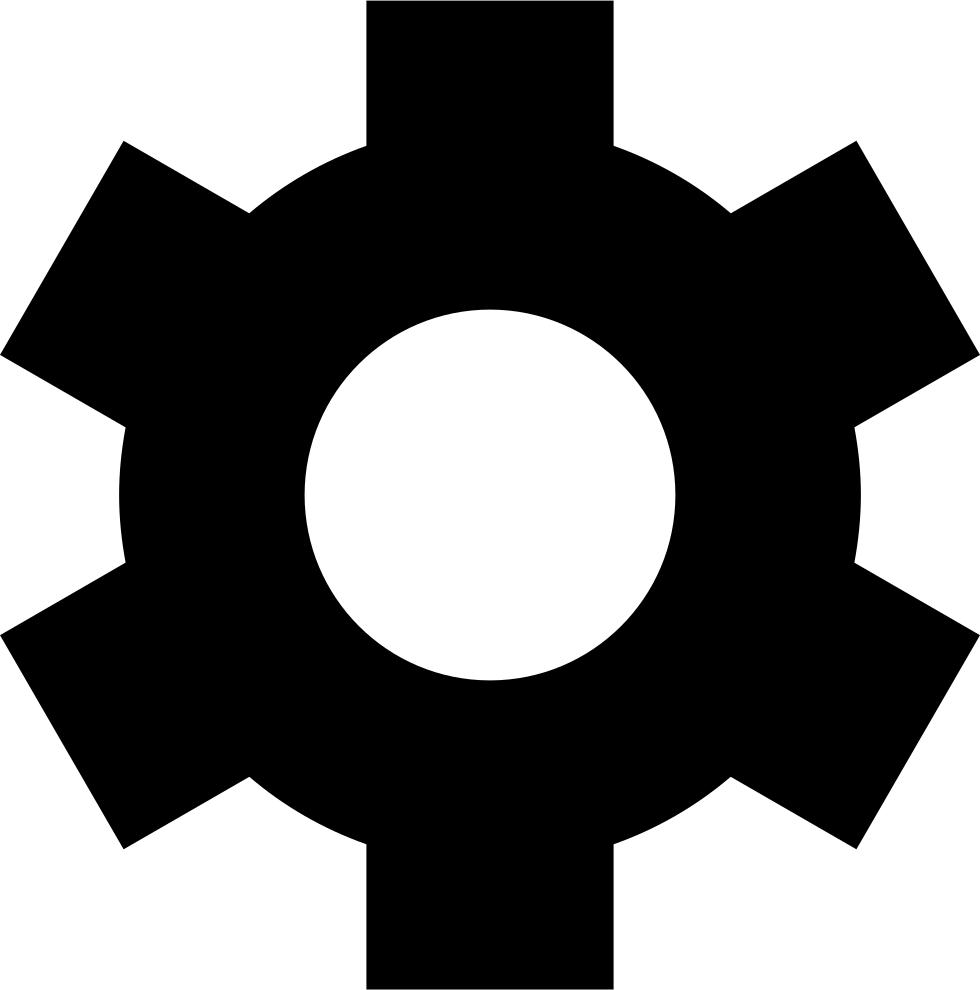 Gear wheel in black. Gears clipart sampling technique