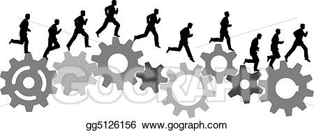 Gear clipart sequence. Vector illustration business man