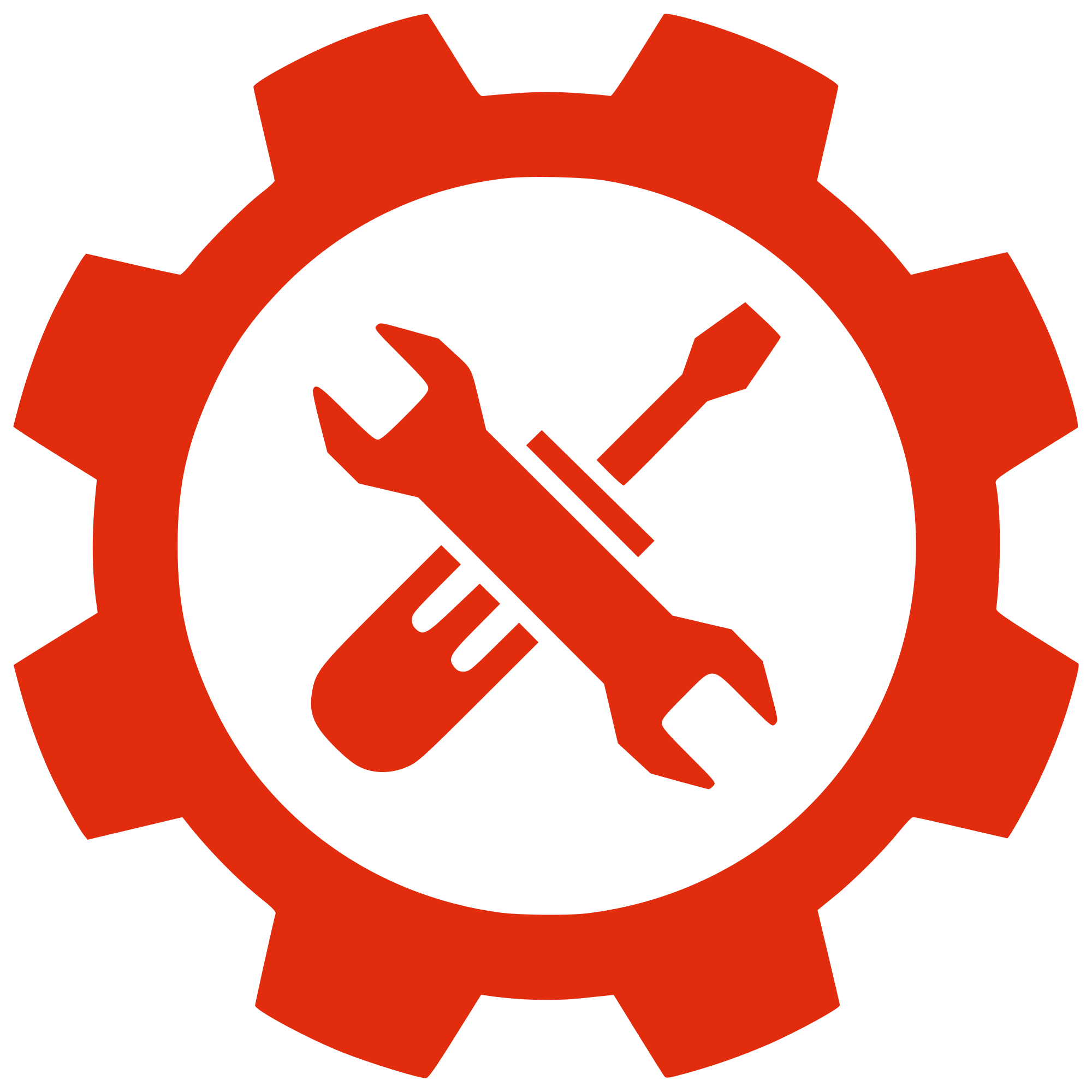 File red and tools. Gear clipart silhouette