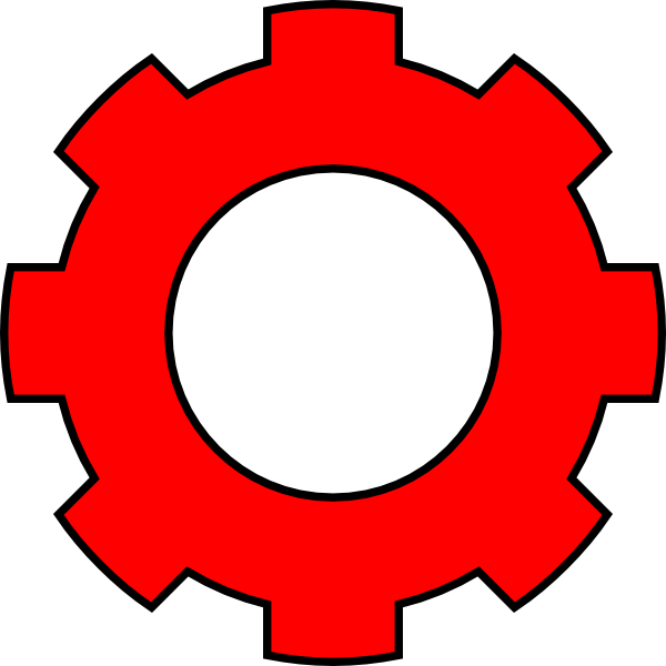 Gears clipart single gear. Red clip art at